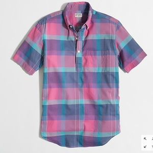 J Crew Short Sleeve Popover Shirt in Plaid Sz S